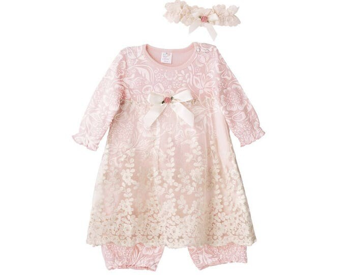 SPECIAL! Baby Girl Lace Dress, Newborn Girl Outfit, Baby Girl Skirted Romper Pink Floral, Baby Girl Pink Romper Headband RH54LFQIY0000
