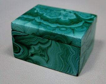 Malachite Small Jewelry or Blessing Box 1.5 inch Semi Precious Gemstone #E17