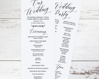 Rustic Wedding Programs, Wedding Program Template, Wedding Programs Instant Download, Printable Wedding Program, DIY Editable Programs