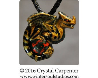 Chameleon Snarl - Collectible Dragon Art Ornament Necklace