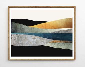 Abstract Landscape Print, Mountain Painting, Nature Wall Art, Scandinavian Design, Glacier, Modern Poster, Mixed Media Collage // Last Light
