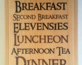 The Hobbit Diet Plaque  Sign  Gift  Lord Of The Rings Breakfast Lunch Elevensies 455