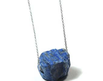 Floating blue Lapis Lazuli raw semi precious gemstone nugget necklace on stainless steel chain & clasp