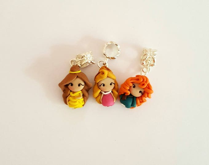 Princesses charm for pandora bracelet , disney inspired. Stitch markers charm. Disney jewelry.Ariel,Merida,Belle,Elsa,Rapunzel,Mulan,Jasmine