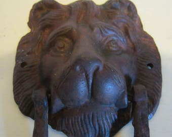 Antique French wrought iron door knocker beautiful lion's head with knocking ring, France.