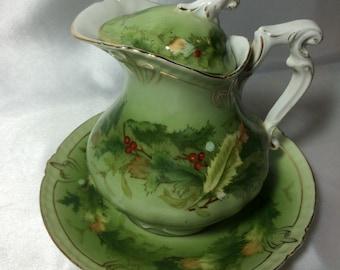 Green and Red Berry Demitasse Pot and Saucer; small pot, tea pot, christmas