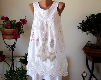 Boho chic white top/Sweet collage white blouse/embroidered/art to wear top/altered top/recycled top