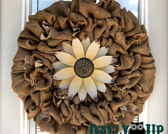 Spring Mother's Day Wreath Spring Burlap Wreath - Flower Wreath  - Summer burlap Wreath - Everyday Wreath - Natura wreath - Everyday wreath