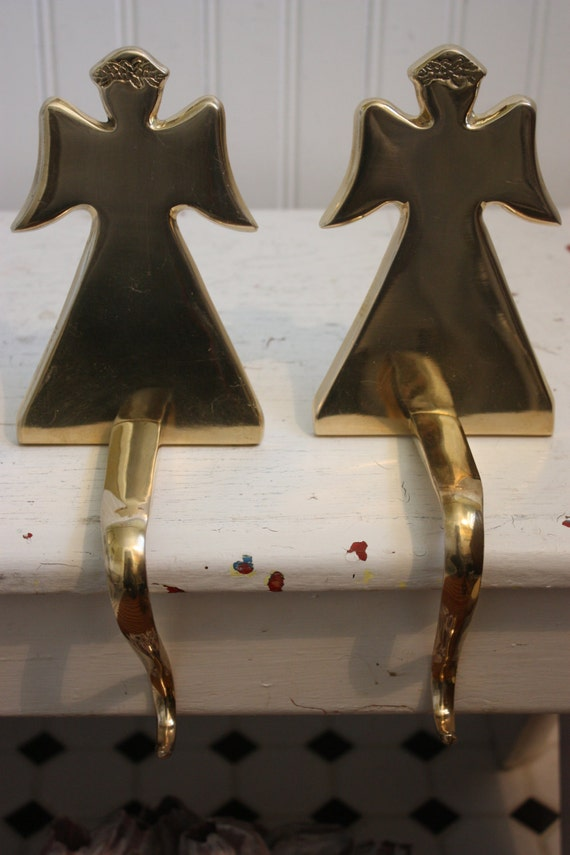 One brass angel christmas stocking holder mantle stocking for Brass stocking holders fireplace