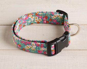 Minnie Liberty print fabric dog collar