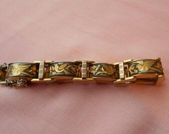 Vintage Genuine Damascene Link Bracelet Toledo Spain Signed IA Gold Foil Birds on Oxidized Metal, Safety Chain