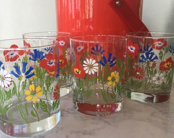 Georges Briard Glasses and Ice Bucket | Floral Fantasy, double old fashioned glasses, red ice bucket, mid century modern, vintage barware