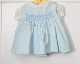 9 months: Smocked Jumper Dress with Lace Trimmed Blouse, Pastel Blue Baby Dress by Polly Flinders