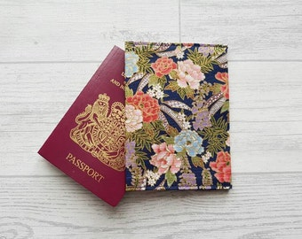 Floral Passport Cover, Flower Fabric Passport Holder, Gifts For Travellers, Gifts For Her, Flower Gifts, Document Wallet, Teacher Gifts