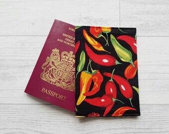 Chilli Pepper Passport Cover, Chilli Fabric Passport Holder, Teacher Gifts, Chilli Pepper Fabric, Gifts For Him, Chilli Pepper Gifts