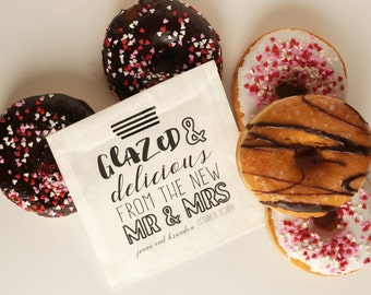 Donut Wedding Favor Bags - Glazed and Delicious - Grease Resistant Bags