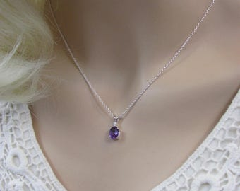 Amethyst Accent Necklace in Sterling Silver, 8x6mm Amethyst Gemstone, February Birthstone, Purple Pendant, Bride Necklace, Wedding Jewelry