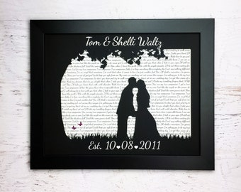 Gift for Couples, Wedding Song Lyric Art, First Anniversary Gift, First Dance Song Lyrics, Paper Anniversary, Wedding Vows, Outside Wedding