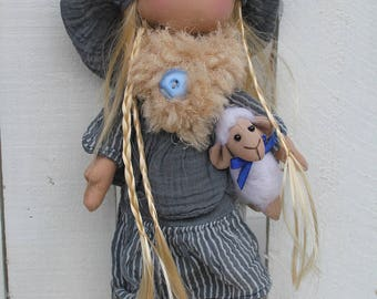 Rag doll hand made doll of rags, for decoration, model Selena