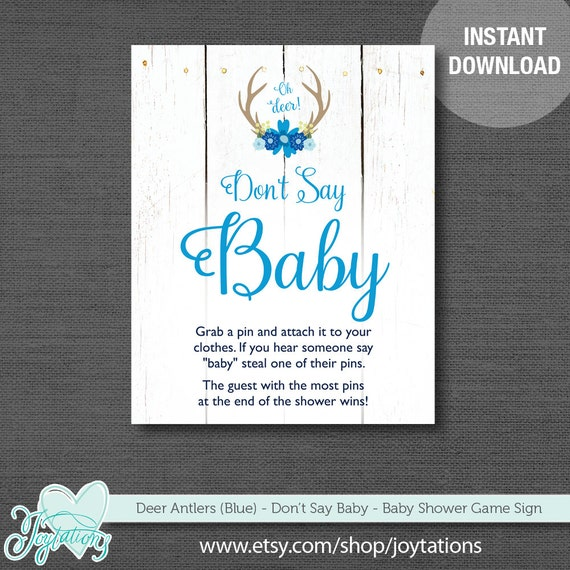 Deer Antlers Blue Don T Say Baby Game Sign Baby Shower