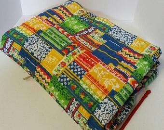Vintage Blanket-Sleeping Bag • 1970's Patchwork Print Sleeping Bag • Snuggie Sleep Sac • Vintage Snug Sac •Kids blanket-Retro sleeping bag