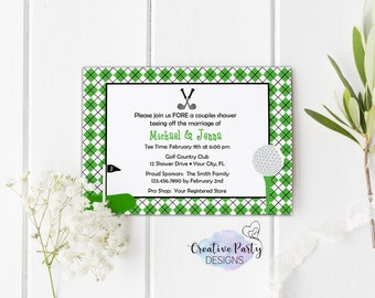 Couples Shower Invitation, Couples Bridal Shower Invitation, Golf Wedding Invitation, Preppy Invitation, Printable Bridal Shower Invitation