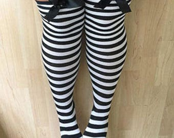 SALE Rhoda Black & White Stripy Bows Lingerie Thigh High Stockings
