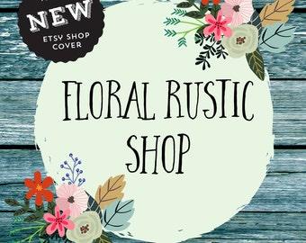 Premade Rustic Etsy banner, Shop Banner Wood Floral Set, Etsy Kit Business Branding,