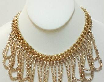 Gold Chain Crystal Clear Rhinestones Necklace / Bib Necklace.