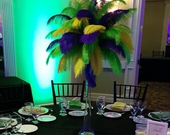 "Mardi Gras Ostrich Feather Centerpiece Kits with 24"" Eiffel Tower Vase Mardi Gras decorations Mardi Gras Centerpiece Mardi Gras Party Supply"