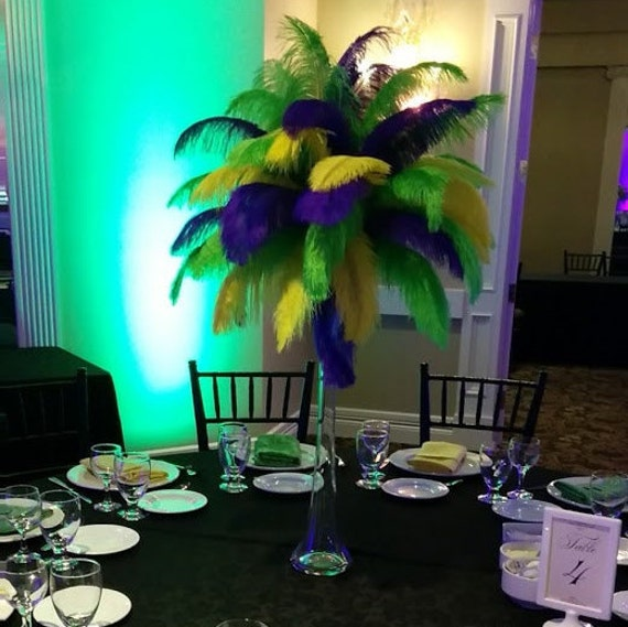 Mardi gras ostrich feather centerpiece kits with