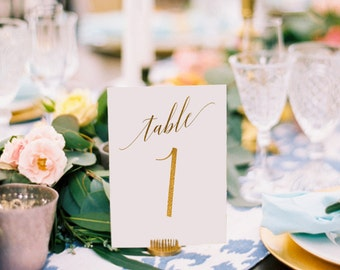 Adelicia Gold Foil Table Numbers - Gold Table Number Cards - Two Sided - Wedding Table Numbers with Gold Foil #TN215G