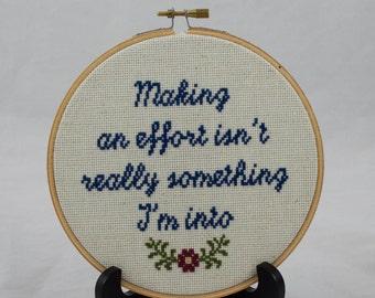 Making an Effort Cross Stitch