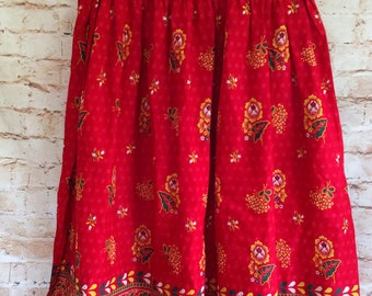 Vintage Gypsy Peasant Skirt Dirndl Maxi Long Length Red Floral Cotton Boho Chic Bohemian Hippy 32 in Waist 1970s