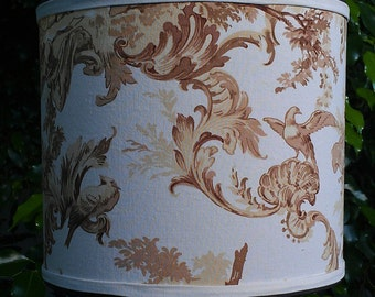 Drum Lampshade, Brown Tan Off White, Renaissance, Romantic Scenes, French Fabric, Bedroom Women Birds, Brass Washer Top, Custom Home Decor