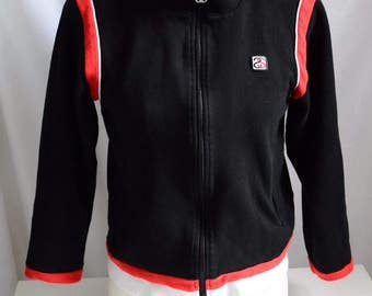 Vintage 90's Women's Stussy Skater Cropped Fitted Zip up Sweat Shirt Track Jacket Black 3/4 sleeve