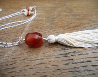Orange Carnelian Necklace - Carnelian Tassel Necklace - Layering Necklace - Healing Jewelry - Handmade Gifts