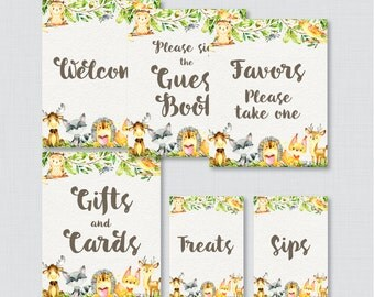 Printable Woodland Animal Baby Shower Table Signs - SIX Signs! Welcome Sign, Favors Sign, etc - Instant Download - Woodland Table Signs 0065