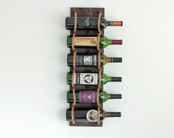 6-Bottle Wine Rack, Wall-Mounted Rustic Wine Rack, Wood Wine Bottle Holder