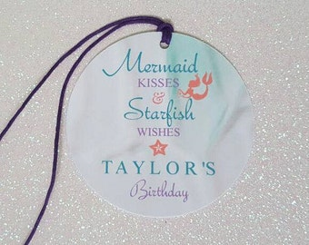 "Mermaid Favor Tags *Mermaid Birthday Tags *Under the Sea Tags *Mermaid Party Favor Tag *Mermaid Kisses *Starfish Wishes *2.25"" *PERSONALIZED"