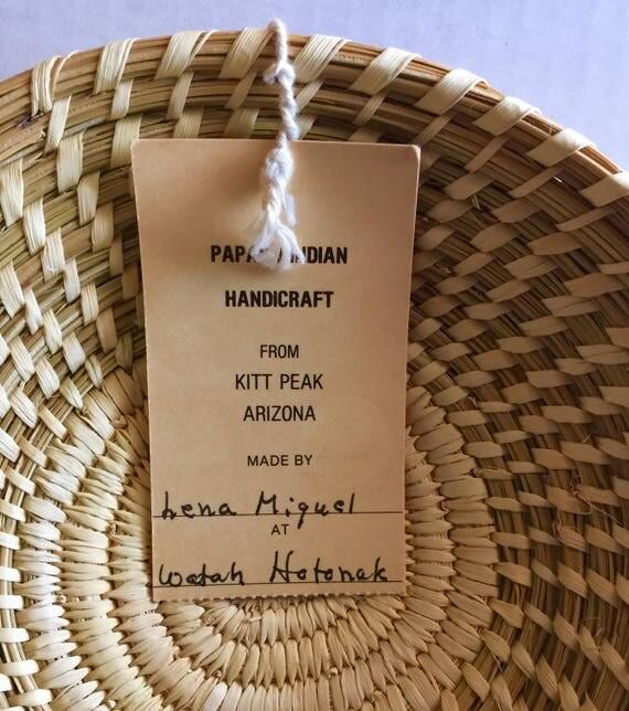 Papago Native American Indian Basket by Lena Miguel Tohono O' Odham Arizona Yucca Bear Grass Woven