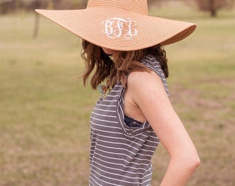 SALE-Monogram Floppy Hat | Striped Hat | Straw Hat | Beach Hat | Floppy Beach Hat | Floppy Straw Hat | Monogrammed Hat | Kentucky Derby Hat