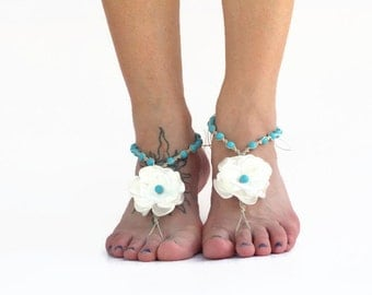 Turquoise pearl barefoot sandals, beach wedding sandals, bride shoes, bare sole footwear, bridesmaids sandals color options, handmade