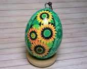 Pysanky Ornament・Orange and Yellow Sunflower Ukrainian Egg for Home Decor [Blue]