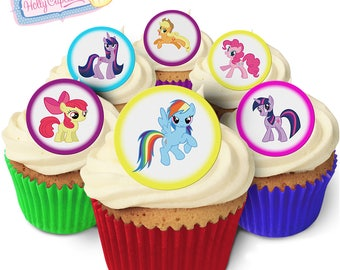 My Little Pony: 24 Edible round wafer cake toppers. Designed and made in the UK!