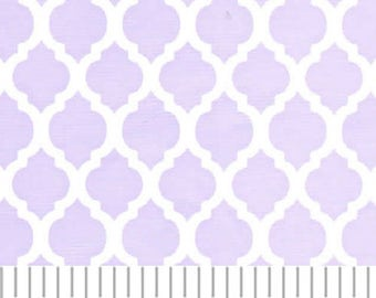 Lilac Mini quatrefoil fabric from Fabric Finders, Easter dress fabric by the yard, lavender quatrefoil, purple small quatrefoil print fabric
