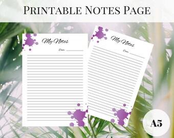 Kikki K Inserts, Printable Notes Page, Printable Planner Pages A5, Planner Notes Page, Printable Inserts, Notes Printable, Filofax Inserts