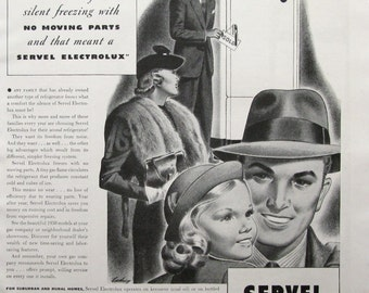 1938 Servel Eletrolux Ad - 1930s Gas Refrigerator Advertising, Black & White Ads