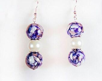 PURPLE BEAD EARRINGS, purple earrings, purple jewelry, purple-white beads, glass beads, white bead, white earrings, white jewelry - 1845