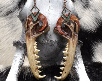 Bone Jewelry - Taxidermy - Fox Jawbone - Bone Earrings - Unique Necklace - Animal Bone - Real Animal Bone